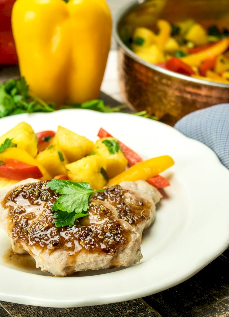 Sweet & Sour Peppers & Pineapple  Pork Chops